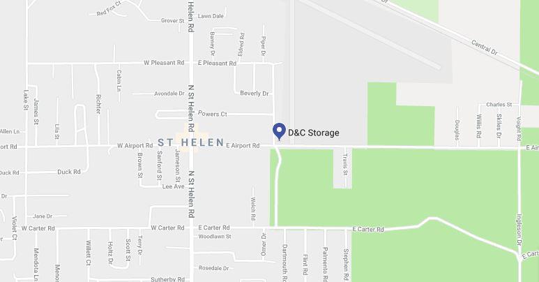 Map to D&C Rentals Storage Units